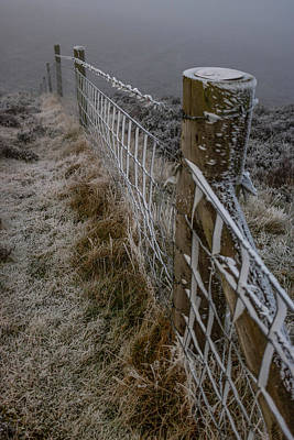 Photograph - Frosted Fence at Moel Famau by Paul Madden