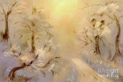 Digital Art - Frosty Sunrise On The Mountain by Lois Bryan