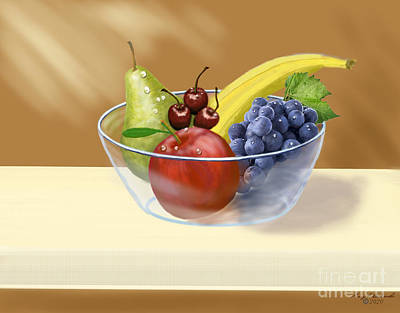 Abstract Stripe Patterns - Fruit Bowl Still Life by Gary F Richards