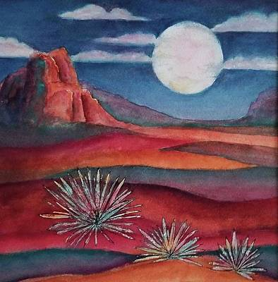 Mixed Media - Full Desert Moon by Terry Ann Morris