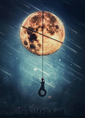 Surrealism Royalty-Free and Rights-Managed Images - Full Moon Swing by PsychoShadow ART
