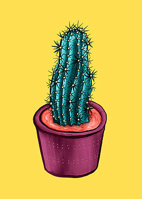 Drawings Royalty Free Images - Funny Cactus Pot Yellow Trippy Psychedelic Royalty-Free Image by Boriana Giormova