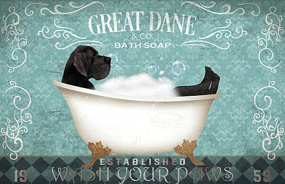 Royalty-Free and Rights-Managed Images - Funny Great DANE Puppy Relax ON Bath SOAP WASH Your Paws Canvas Poster by Julien