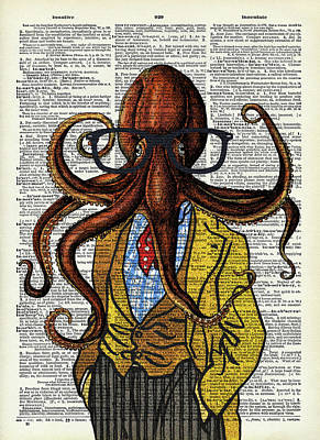 Surrealism Digital Art Rights Managed Images - Funny octopus Royalty-Free Image by Mihaela Pater