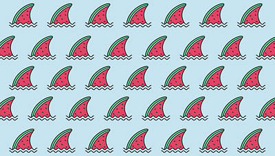 Royalty-Free and Rights-Managed Images - Funny watermelon shark with wave pattern background. Watermelon slice illustration pattern. Fruit background by Julien