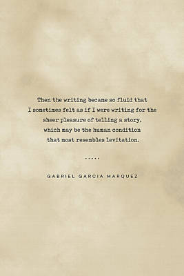 Royalty-Free and Rights-Managed Images - Gabriel Garcia Marquez Quote 02 - Typewriter quote on Old Paper - Literary Poster - Book Lover Gift by Studio Grafiikka