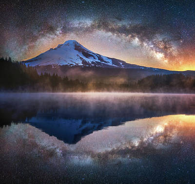 Railroad - Galactic Night at Trillium Lake by Darren White