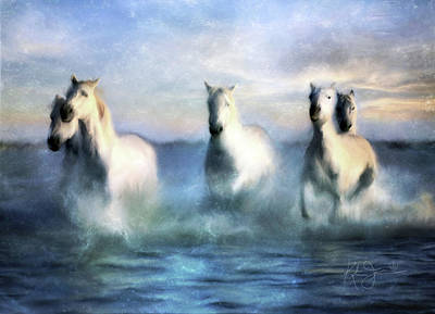 Animals Royalty-Free and Rights-Managed Images - Galloping Gray Horses by Katrina Jones