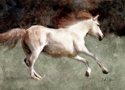 Animals Royalty-Free and Rights-Managed Images - Galloping Rose Gray Horse by Katrina Jones