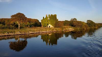 Photograph - Galway castle ruin and water reflection by Patrick Dinneen