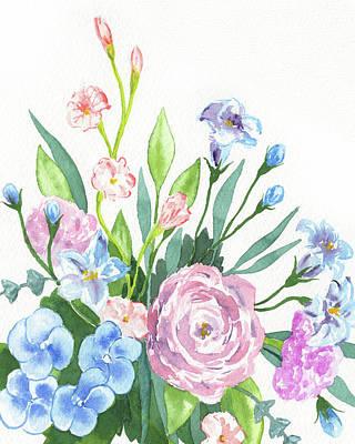 The Beach House - Garden Flowers Bouquet Watercolor by Irina Sztukowski