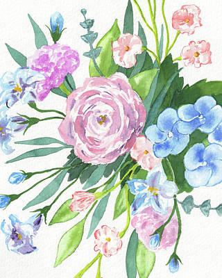 The Beach House - Garden Flowers Watercolor Bouquet In Blue And Pink  by Irina Sztukowski