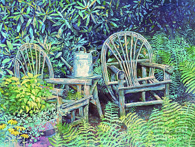 Target Threshold Watercolor - Garden Retreat-Cyan by Hailey E Herrera