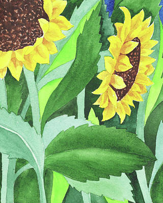 Royalty-Free and Rights-Managed Images - Garden With Sunflowers by Irina Sztukowski