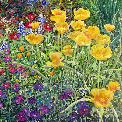 Purely Purple - Gardeners Delight-Yellow Flowers by Hailey E Herrera
