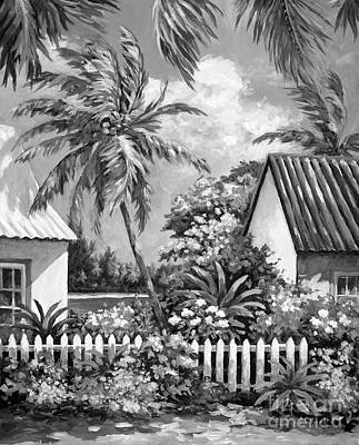City Scenes - Gardens of Cayman Kai Grayscale by John Clark