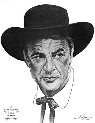 Drawings Royalty Free Images - Gary Cooper 2 by Volpe Royalty-Free Image by Stars on Art