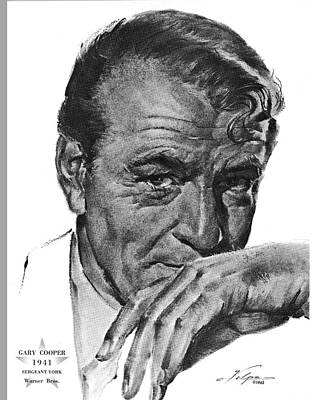 Drawings Royalty Free Images - Gary Cooper by Volpe Royalty-Free Image by Stars on Art