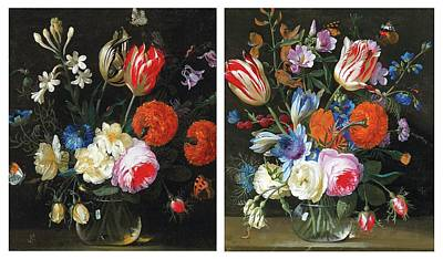 Fruits And Vegetables Still Life - Gaspar Pieter Verbruggen II a pair Antwerp pair of still lifes with tulips peonies by Celestial Images