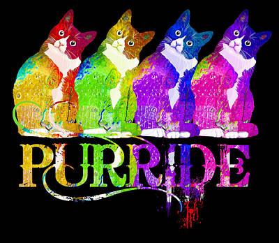 David Bowie - Gay Pride Tee for Women Men Purride LGBT Rainbow Cat Lover by Tony Rubino