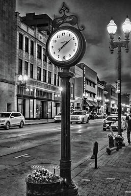 Photograph - Gay Street Clock Black and White by Sharon Popek