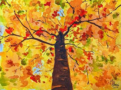 Painting - Gazing up at Fall by Monika Arturi