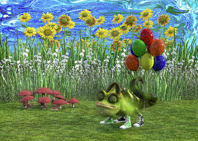 Royalty-Free and Rights-Managed Images - Gecko Chameleon with Balloons by Betsy Knapp