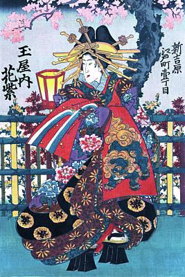 Painting - Geisha, Courtesan Hanamurasaki, Restored Antique Ukiyo-e Color Japanese Woodblock Print by Orchard Arts