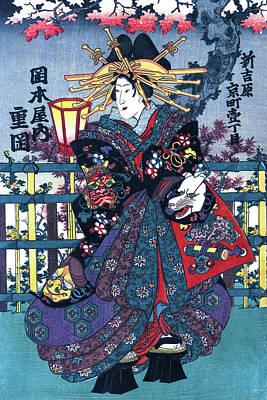 Painting - Geisha, Courtesan Shigeoka, Restored Antique Ukiyo-e Color Japanese Woodblock Print by Orchard Arts
