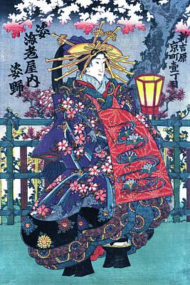 Painting - Geisha, Courtesan Sugatano, Restored Antique Ukiyo-e Color Japanese Woodblock Print by Orchard Arts
