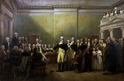 Landmarks Painting Royalty Free Images - General Washington Resigning His Commission Royalty-Free Image by War Is Hell Store
