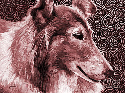 Animal Watercolors Juan Bosco - Gentle Spirit - Reveille VIII in maroon by Hailey E Herrera