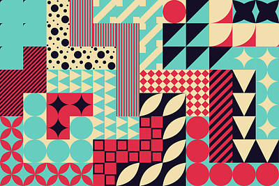 Royalty-Free and Rights-Managed Images - Geometric mural background. Modern style illustration. by Julien