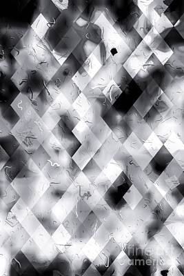 Travel - Geometric Square Pixel Pattern Texture Abstract Art Background In Black And White by Tim LA