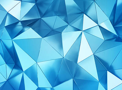 Royalty-Free and Rights-Managed Images - Geometric three dimensional metal blue background by Julien