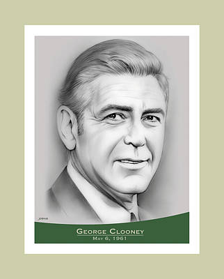 Popstar And Musician Paintings - George Clooney birthday by Greg Joens