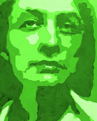 Royalty-Free and Rights-Managed Images - Georgia O Keeffe Portrait In Lime Green by Irina Sztukowski