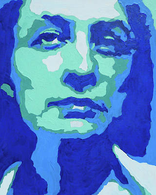 Royalty-Free and Rights-Managed Images - Georgia O Keeffe Portrait In Teal And Ultramarine Blue by Irina Sztukowski