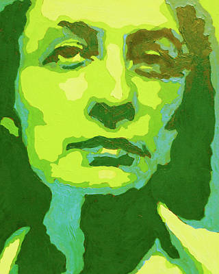 Royalty-Free and Rights-Managed Images - Georgia O Keeffe Portrait In Yellow And Green  by Irina Sztukowski