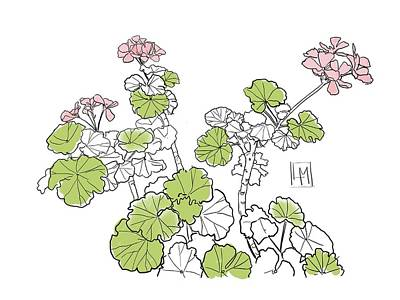 Wine Beer And Alcohol Patents - Geraniums by Luisa Millicent