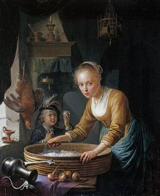 Rolling Stone Magazine Covers - GERRIT DOU LEIDEN 1613 LEIDEN 1675 A Girl chopping Onions by Artistic Rifki