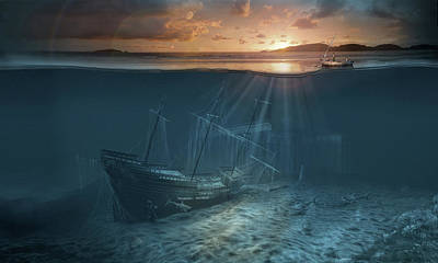 Surrealism Royalty-Free and Rights-Managed Images - Ghost ship series Pirate shipwreck by George Grie