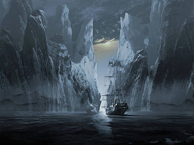 Surrealism Digital Art - Ghost ship series The lost expedition by George Grie