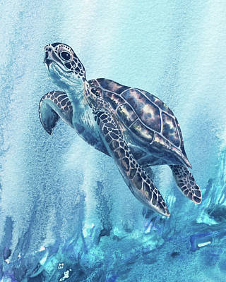 Ethereal - Giant Sea Turtle In Deep Blue Ocean Watercolor  by Irina Sztukowski