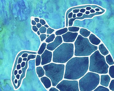 Royalty-Free and Rights-Managed Images - Giant Turtle Aquamarine Blue Sea Watercolor  by Irina Sztukowski
