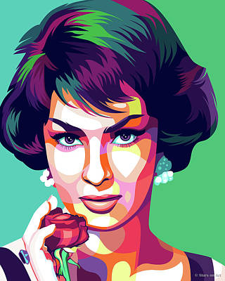 Digital Art Royalty Free Images - Gina Lollobrigida Royalty-Free Image by Stars on Art
