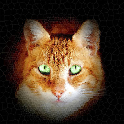 Pittsburgh According To Ron Magnes - Ginger cat portrait mosaic by Hajarimanitra Rambeloarivony