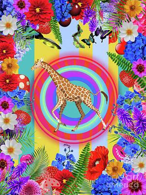 Animals Digital Art - Giraffe by Galaxy Epopteia