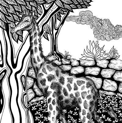 Animals Drawings - Giraffe by Jennifer Wheatley Wolf
