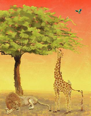 Drawing - Giraffe Ladder by Kim W Nolan